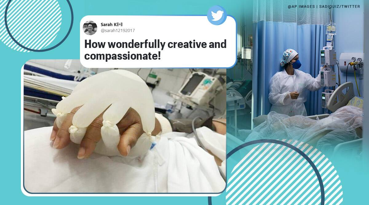 gloves hand, tiny hand gloves, nurse gloves hand for covid patient, nurse comfort covid patient with latex gloves hand, brazil covid deaths, viral news, indian express