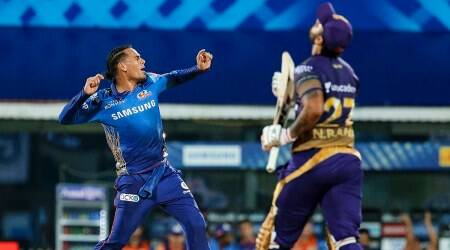kkr vs mi, kkr vs mi ipl 2021, kolkata knight riders vs mumbai indians, kkr batting collapse, Rahul chahar four wicket, andre russell fifer