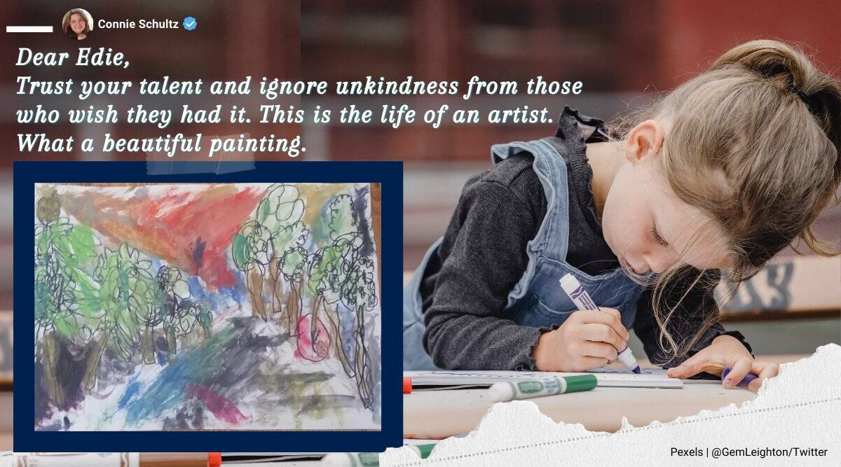child painting wrong, child art get support from netizens, child told painting wrong netizens defend, viral news, good news, indian express