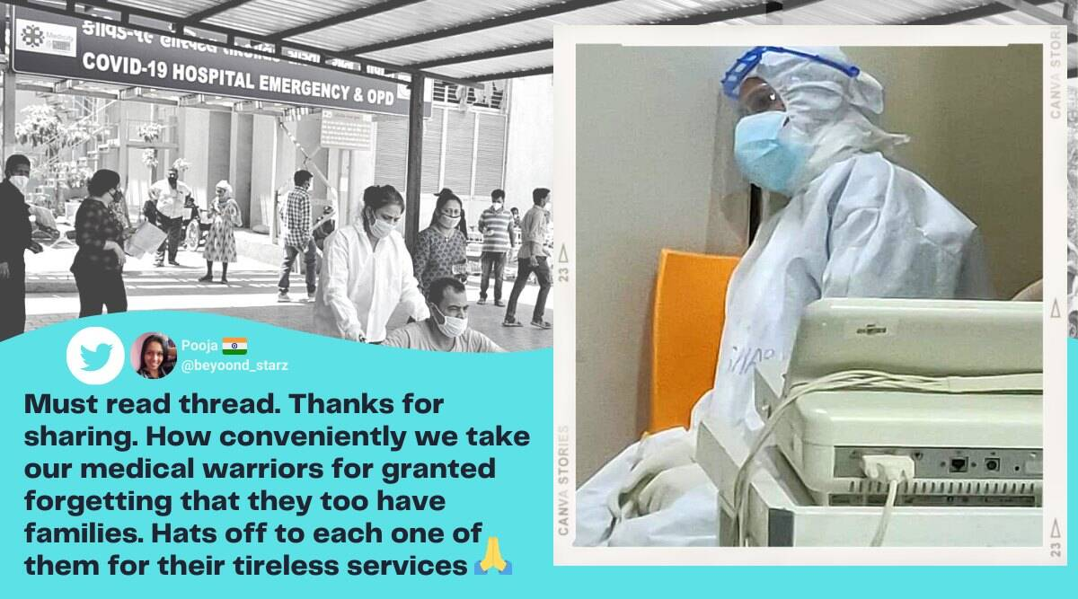 exhausted nurse covid ward, exhausted nurse ppe kit viral photo, covid ward sad reality, covid ward frontline workers story, viral twitter thread healthcare workers, indian express