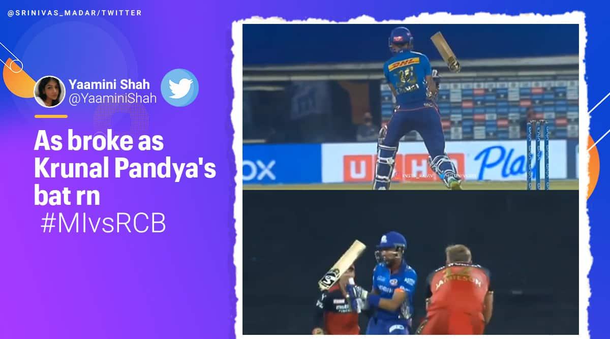 krunal pandya, krunal pandya bat, ipl 2021, mumbai indians vs royal challengers bangalore, mumbai vs bangalore, ipl news, ipl videos, twitter reactions, memes, trending, indian express, indian express news