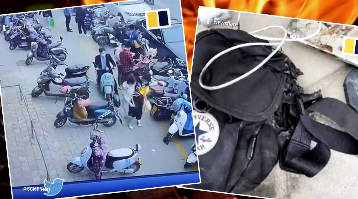 china, china phone, samsung, china phone, phone catches fire man's bag, twitter reactions, viral video, trending, indian express, indian express news