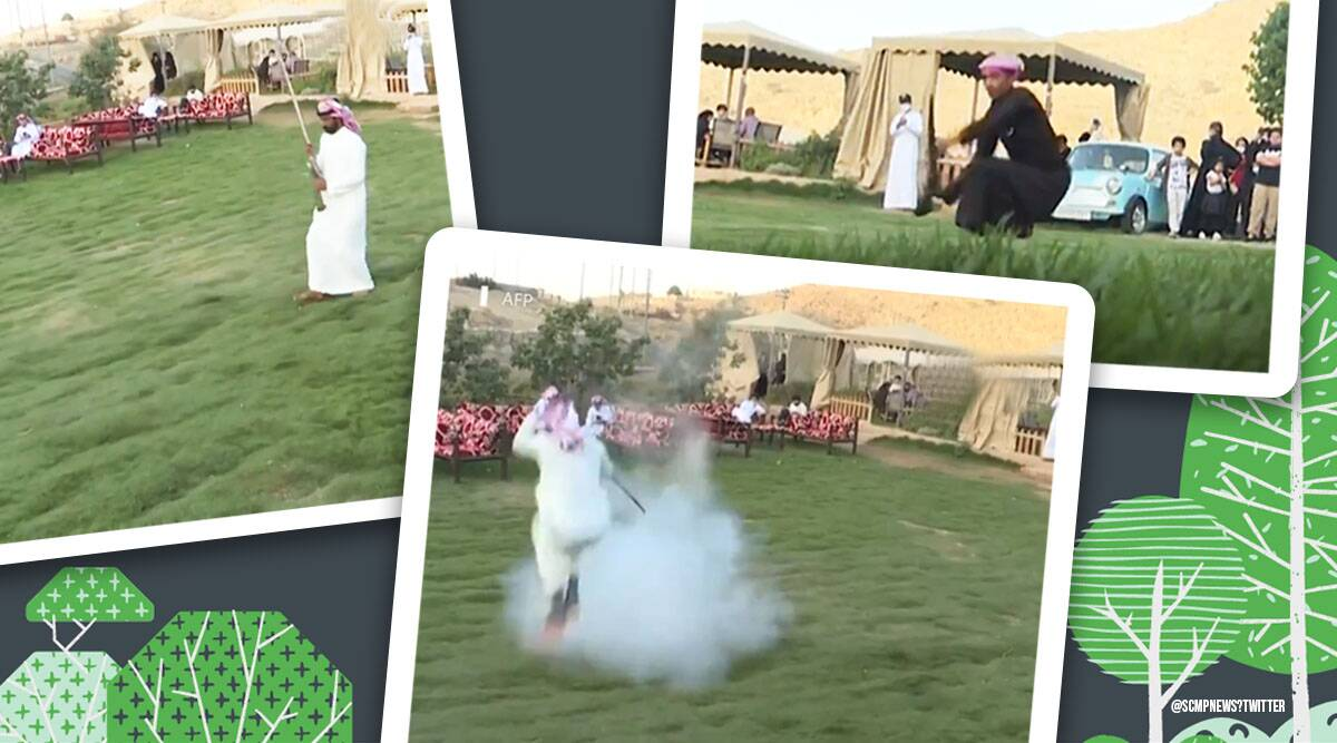 Taasheer folk dance, Taasheer folk dance viral video, Saudi Arabian, gun dance, gun dance in Saudi Arabian, trending, indian express, indian express news