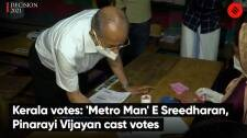 Kerala votes: 'Metro Man' E Sreedharan, Pinarayi Vijayan cast votes