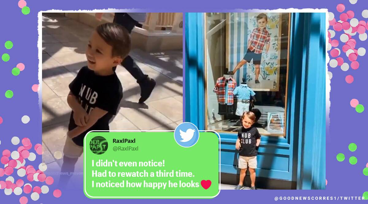 boy with one limb viral video, Janie & Jack, boy with one hand viral video, boy models for Janie & Jack, twitter reactions, trending, indian express, indian express news