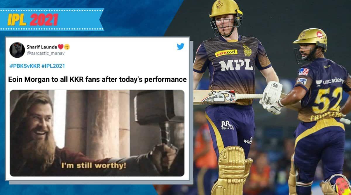 ipl 2021, kkr vs pbks, pbks vs kkr, kolkata knight riders win, kkr vs pbks memes, eoin morgan, kl rahul, cricket news, sports news, indian express news