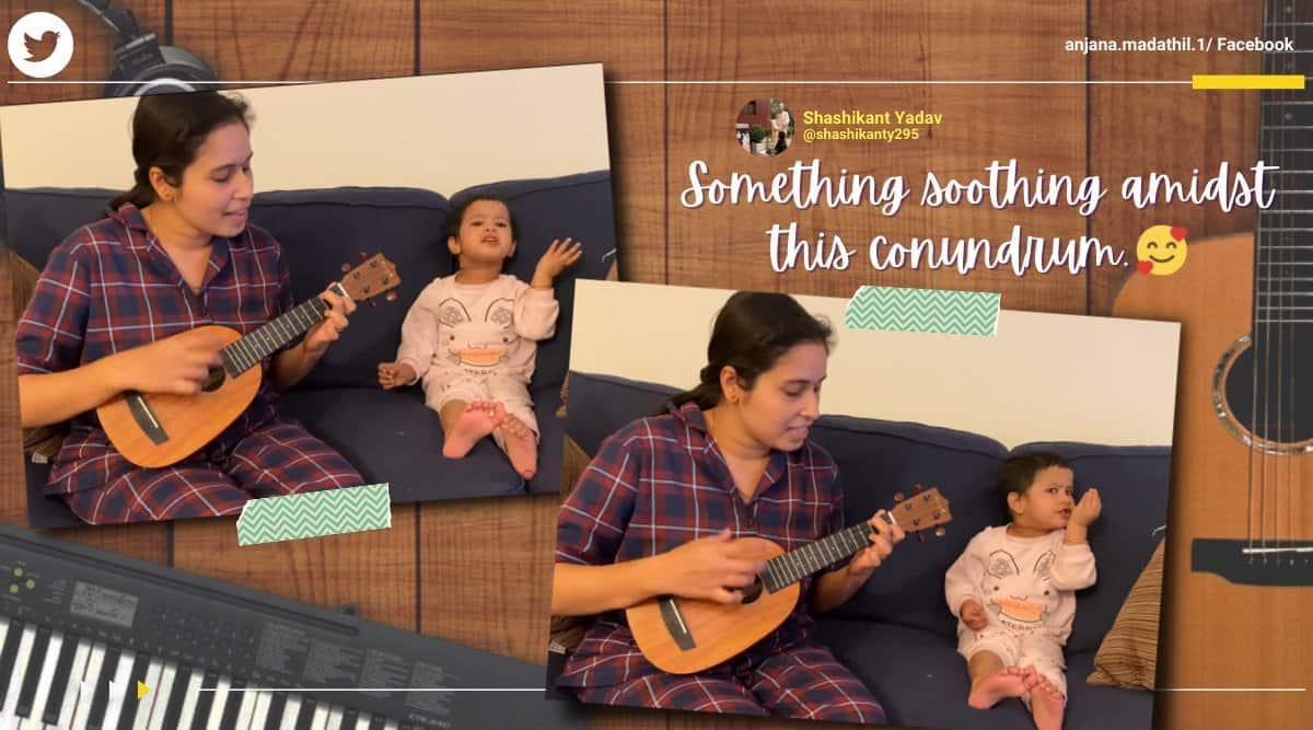 agar tum saath ho, mother daughter tum saath ho, little girl tum saath ho, mother daughter jugalbandi, cute children music video, viral video, indian express