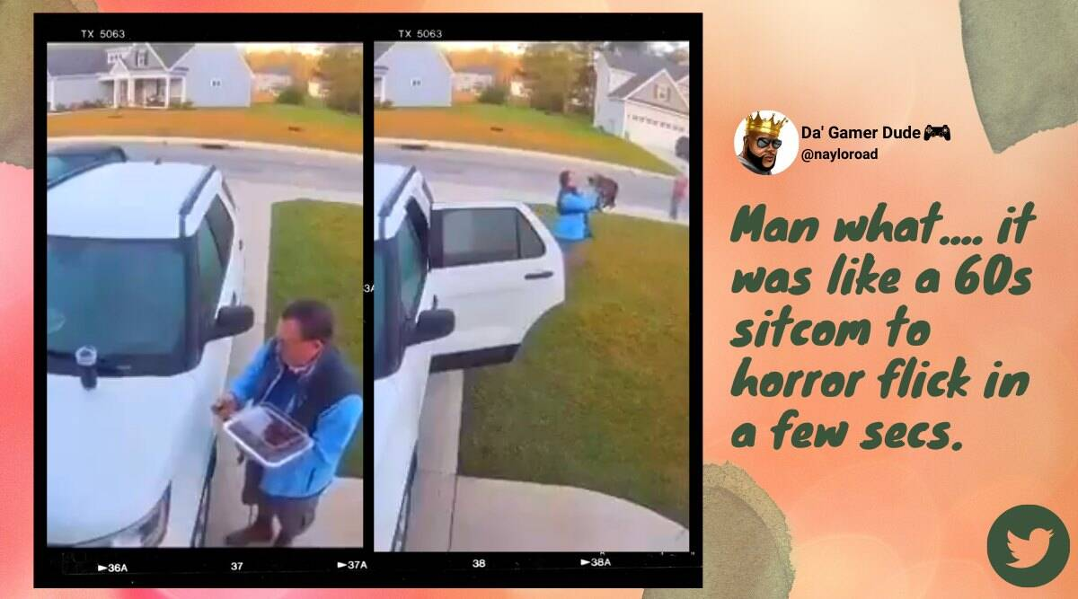 man saves wife from bobcat, man saves as bobcat attacks wife, vivint home man bobcat attack video, burgaw bobcat attack woman under car video, indian express