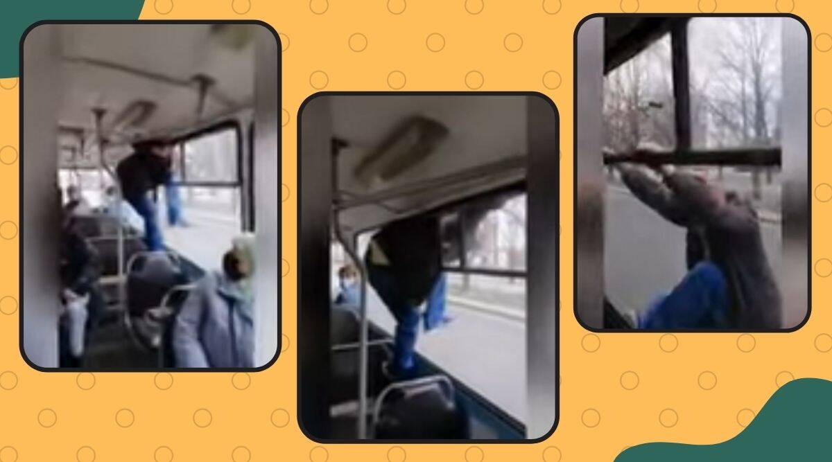 Cherkasy, Cherkasy stories, Man Climbs Out Of Tram Window To Avoid Paying Fare, viral videos, bizarre video, man climbs out of tram viral video, indian express news