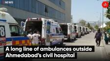 A long line of ambulances outside Ahmedabad's civil hospital