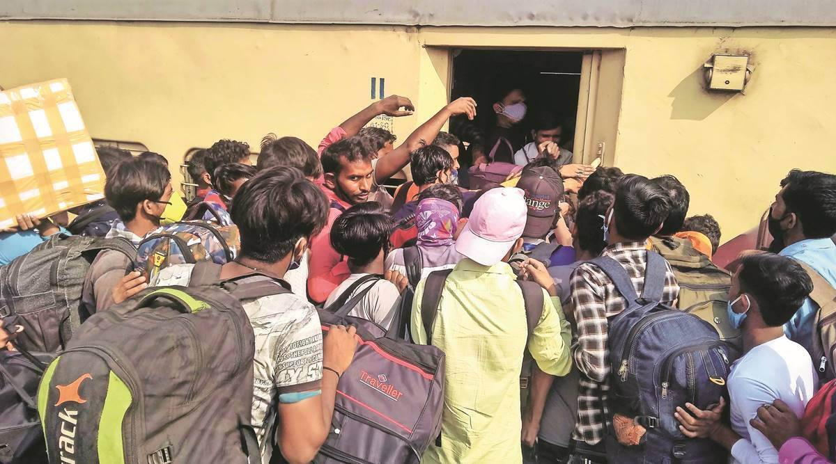 Scarred once, migrants in Goa crowd trains to rush back home