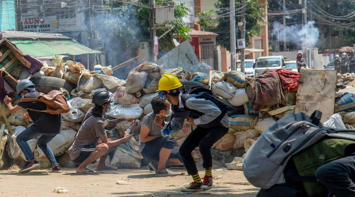 Myanmar, Myanmar military coup, Myanmar coup, Myanmar protests, India on Myanmar violence, Indian Express