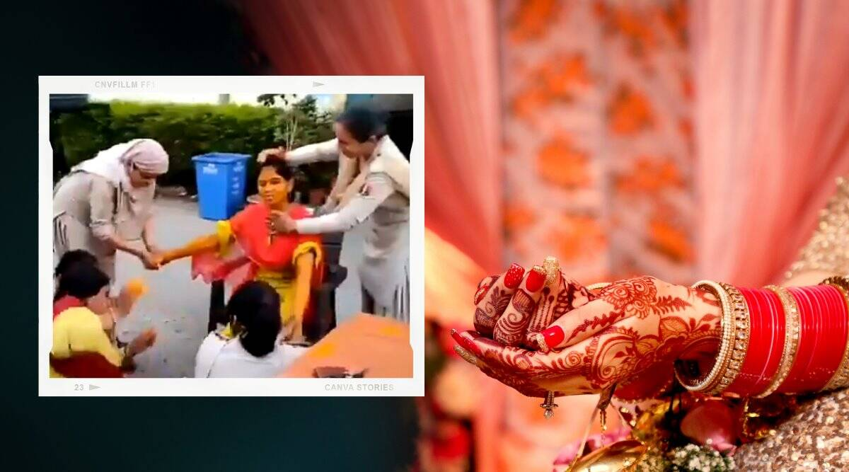 haldi ceremony police station, woman constable haldi at police station, wedding ritual police station, Dungarpur kotwali police station, viral video, Trending news, indian express news