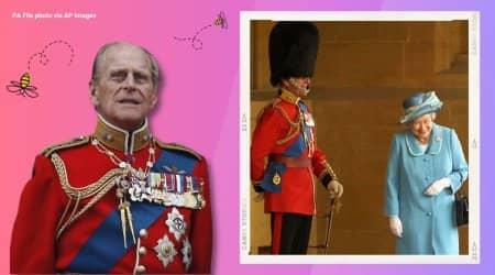 prince philip, prince philip dead, prince philip queen elizabeth viral photo, prince philip prank queen elizabeth, prince philip palace guard prank photo, viral news, indian express