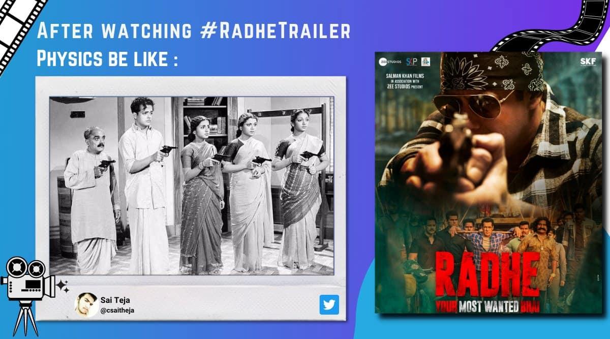 radhe trailer, salman khan, salman khan radhe most wanted bhai, radhe trailer jokes, radhe trailer memes, entertainment news, indian express