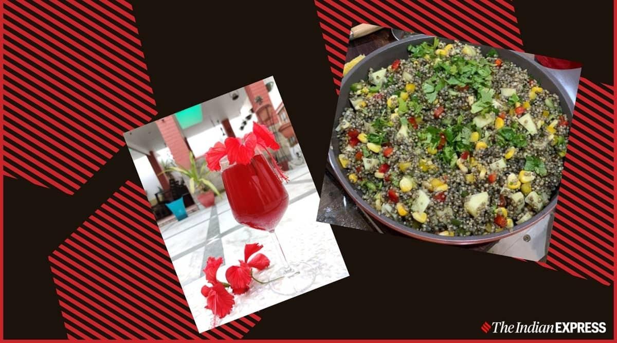healthy millet recipe, millet salad recipe, hibiscus flower cocktail at home recipe, crazy kachi millet workshop, shalini rajani crazy kadchi