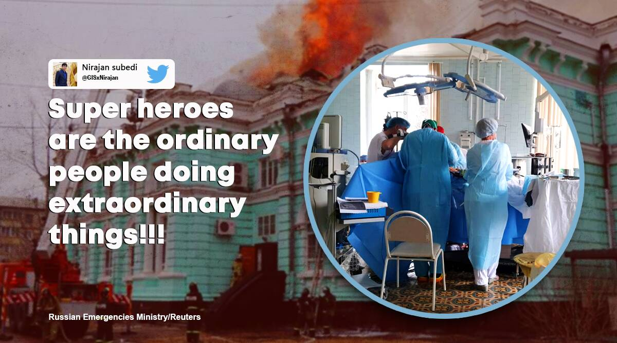 doctors operate during hospital fire, russian doctors surgery hospital fire, Blagoveshchensk hospiatal fire doctors operate, viral news, good news, indian express news