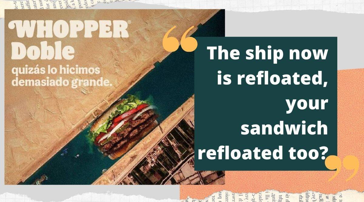 burger king, burger king chili, burger king suez canal meme, burger king suze canal tweet, twitter reactions, social media, trending, indian express news