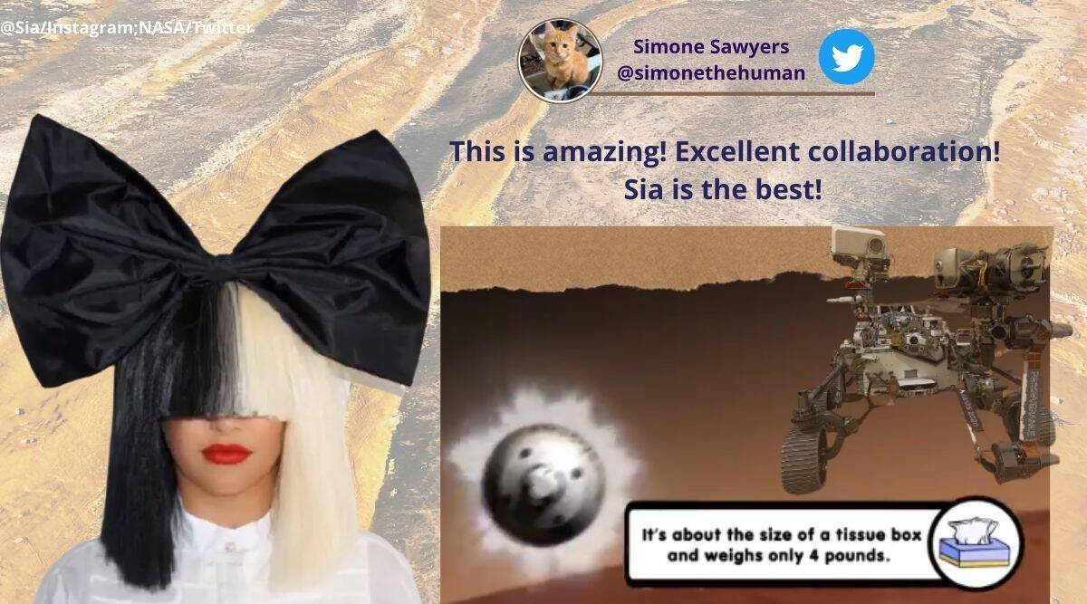 NASA, Sia, NASA and Sia collaboration, Sia music video with NASA, Sia floating though space music video, Ingenuity helicopter test flight, Floating Through Space song, David Guetta, NASA mars mission, NASA Mars rover, NASA's Perseverance mission Trending news, Indian Express news