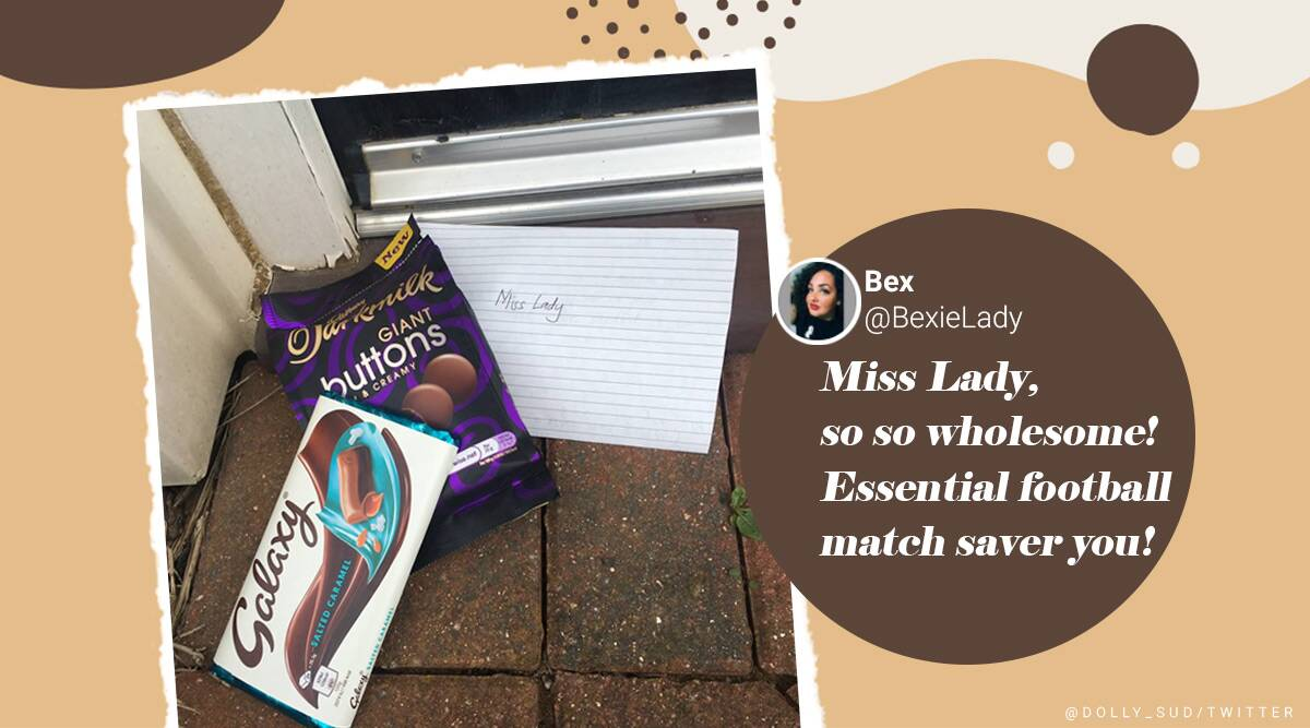 Woman helps siblings find lost football, Woman gets handwritten note and chocolates as surprise, Good news, Positive news, Trending news, Indian Express news