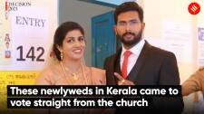 These newlyweds in Kerala came to vote straight from the church