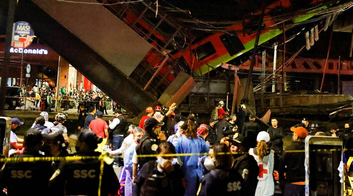 13 dead, 70 injured as Mexico City metro overpass collapses onto road