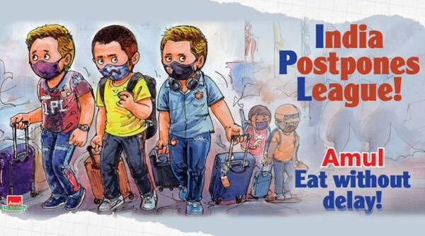 Amul topical, Amul topical doodle, Amul topical cartoon, Amul topical IPL suspension, IPL 2021, IPL 2021 suspension memes, Amul topical 2021 IPL suspension viral topical, trending news, Indian express news