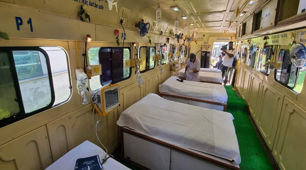 Karnataka covid news, bangalore covid news, karnataka covid vaccine, bengaluru covid vaccine, banaglore airport 150 oxygen beds, KSRTC icu on wheels, indian express