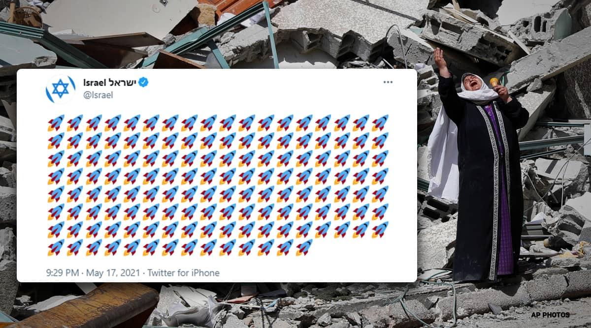 israel gaza conflict, gaza hamas rocket attack, israel rocket strikes on gaza, israel rocket emoji tweets, gaza strip death toll, palestine israel war, viral news, indian express