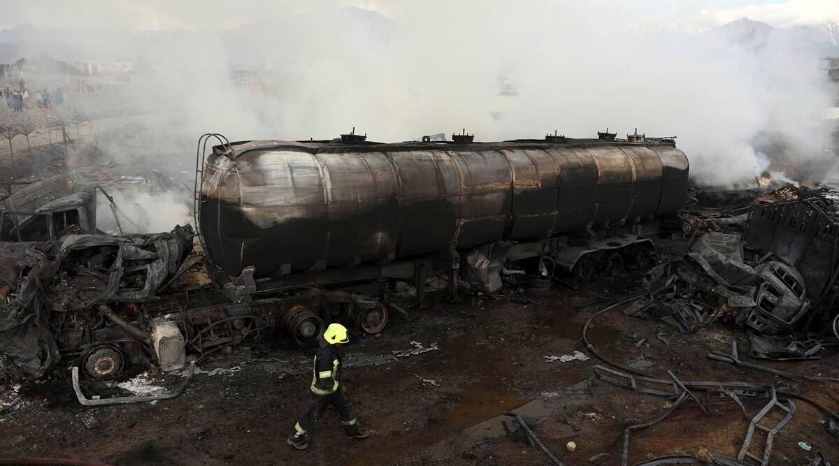 Kabul, fuel tankers, fire