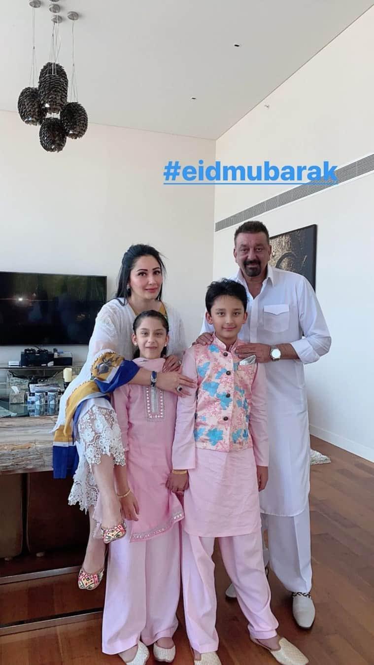 Maanayata Dutt, Sanjay Dutt and kids Shahraan Dutt and Iqra Dutt.