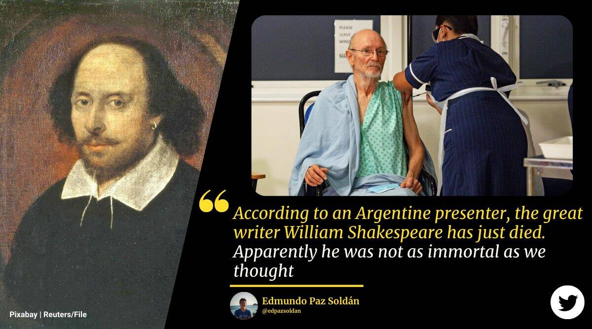 william Shakespeare, Shakespeare covid death, UK first man covid vaccine death, argentina tv host confuse Shakespeare, odd news, funny news, indian express