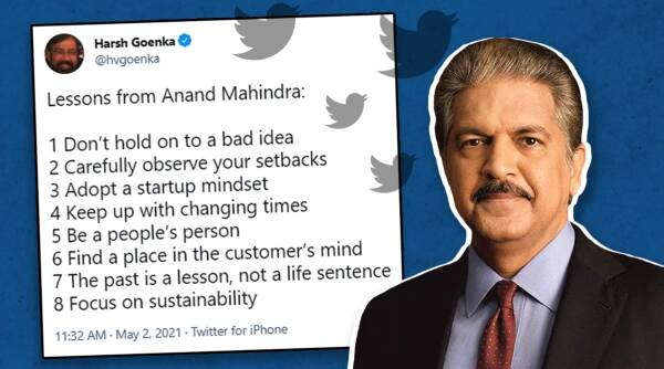 Harsh Goenka, Anand Mahindra , Harsh Goenka lessons from Anand Mahindra, Harsh Goenka Twitter, Anand Mahindra Twitter, Trending news, Indian Express news