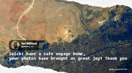 Soichi Noguchi, ISS, Great Pyramid of Giza from Space, ISS astronaut last day picture, Great Pyramid of Giza aerial view, international space station, Trending news, Indian Express news