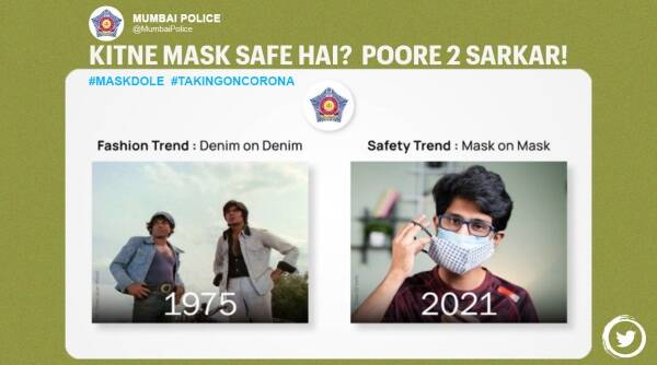 Mumbai police, Mumbai police double masking advisory, Mumbai police Twitter, Covid-19 India second wave, Coronavirus updates, double masking mandatory, Trending news, Indian Express news