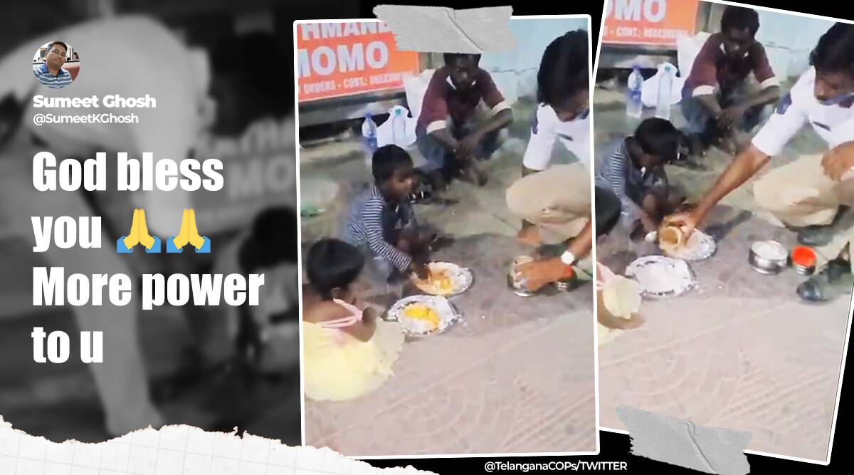 Telengana police constable offers food from lunchbox to homeless children, Good news, Positive news, Trending news, viral news, Indian Express news