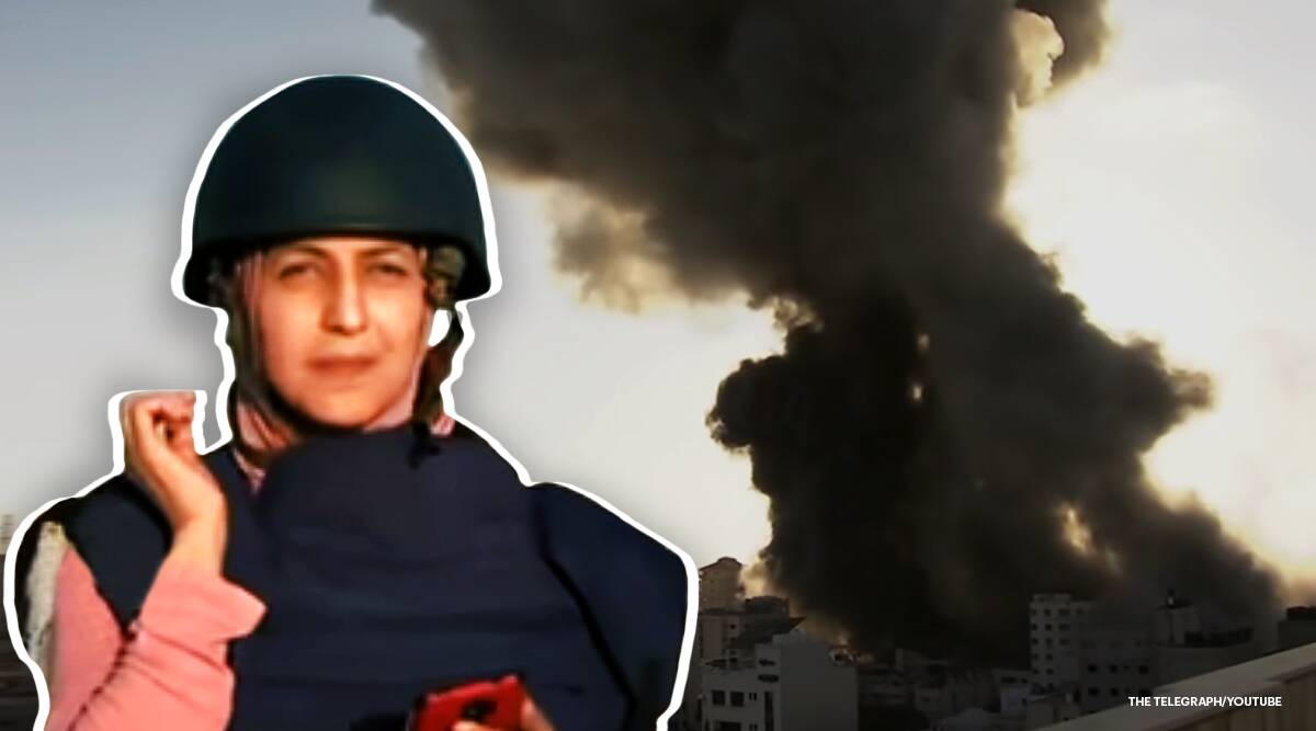 Gaza Journalist rush for cover, Gaza Journalist live reportage airstrikes, Live reportage, Israel and Hamas violence, Israel Palestine tension, Viral video, Gaza attack, Israel attack, Israel attack on Palestine, Israel attack on Gaza, Israel airstrikes, Israel Gaza conflict, Israel Gaza conflict latest news, Israel and Hamas tension live reportage, Trending news, Indian Express news