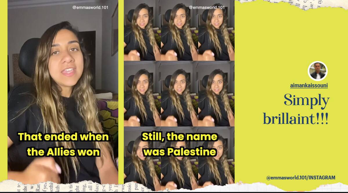 Story of Palestine song, Israel and Palestine conflict, Egyptian woman's story of Palestine song, Hamas Israel conflict, Gaza airstrikes, Viral video, Israel and Palestine conflict song, Song about Palestine, Palestine song, Trending news, Indian Express news