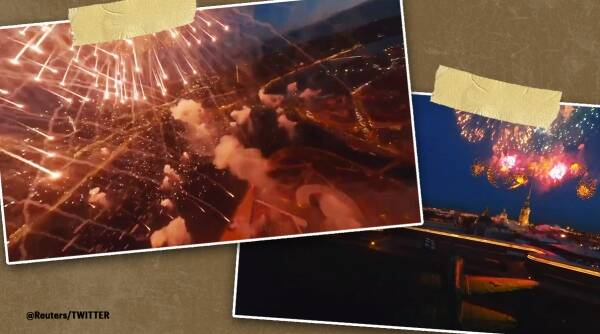 Drone videos, Russia, Fireworks drone video, Fireworks close up drone video, Victory day celebrations, Victory day 2021, 76th victory day, World war ll, Viral video, Trending news, Indian Express news