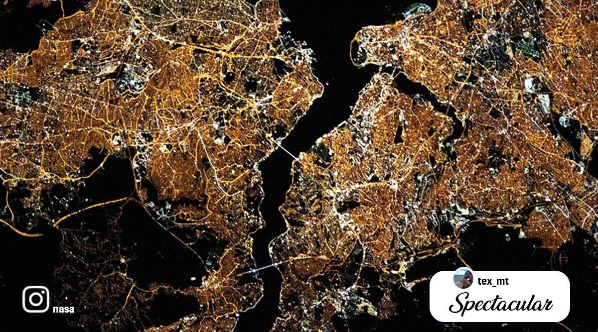 NASA, Areal image of Istanbul, ISS, Istanbul from space, Istanbul from ISS image, Istanbul as viewed from space, International Space station, NASA Instagram, Trending news, Indian Express news