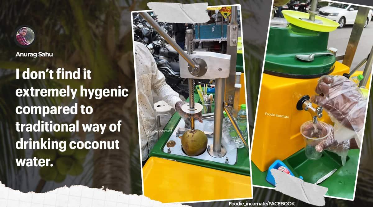 Tender coconut water cart, Hi-tech coconut water cart, Untouched coconut water cart, Indore, viral videos, Trending news, Indian Express news