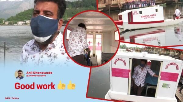 ambulance services, unique ambulance services, Floating ambulance, Dal Lake, Covid warriors, Jammu and Kashmir, Covid-19 ambulance, Covid-19 updates, Srinagar, Trending news, Indian Express news