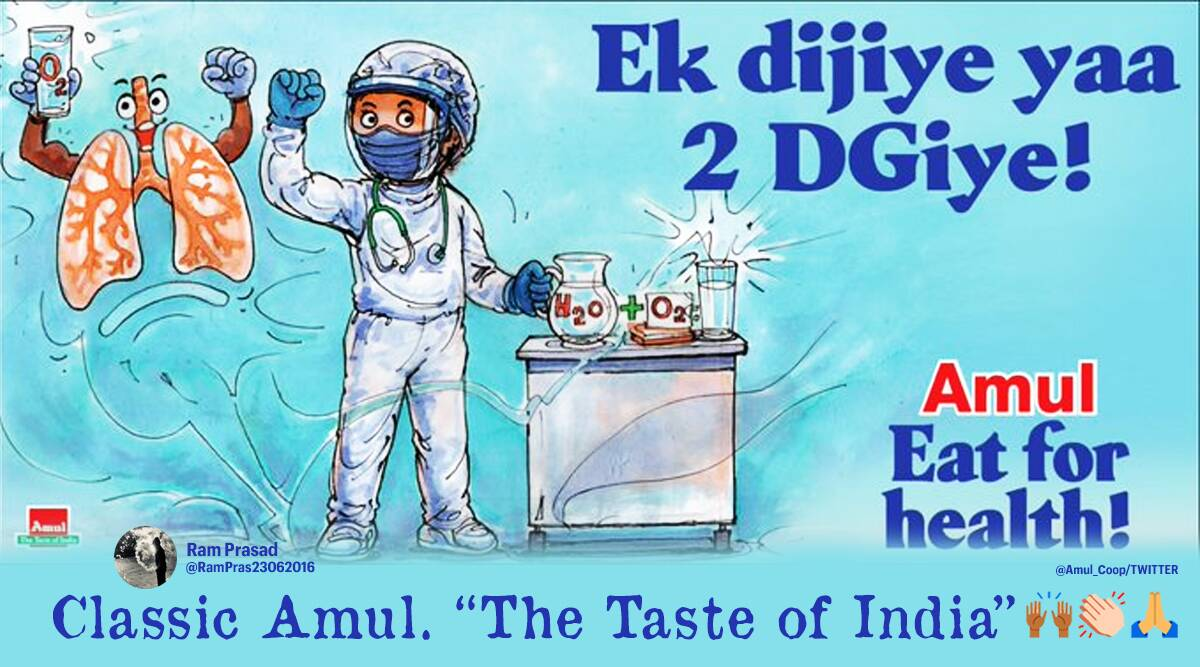 Amul topical, 2-DG drug, Covid-19, Amul latest topical, Amul topical cartoon on 2-DG drug, DRDO 2-DG drug for covid-19 patients, Trending news, Indian Express news.