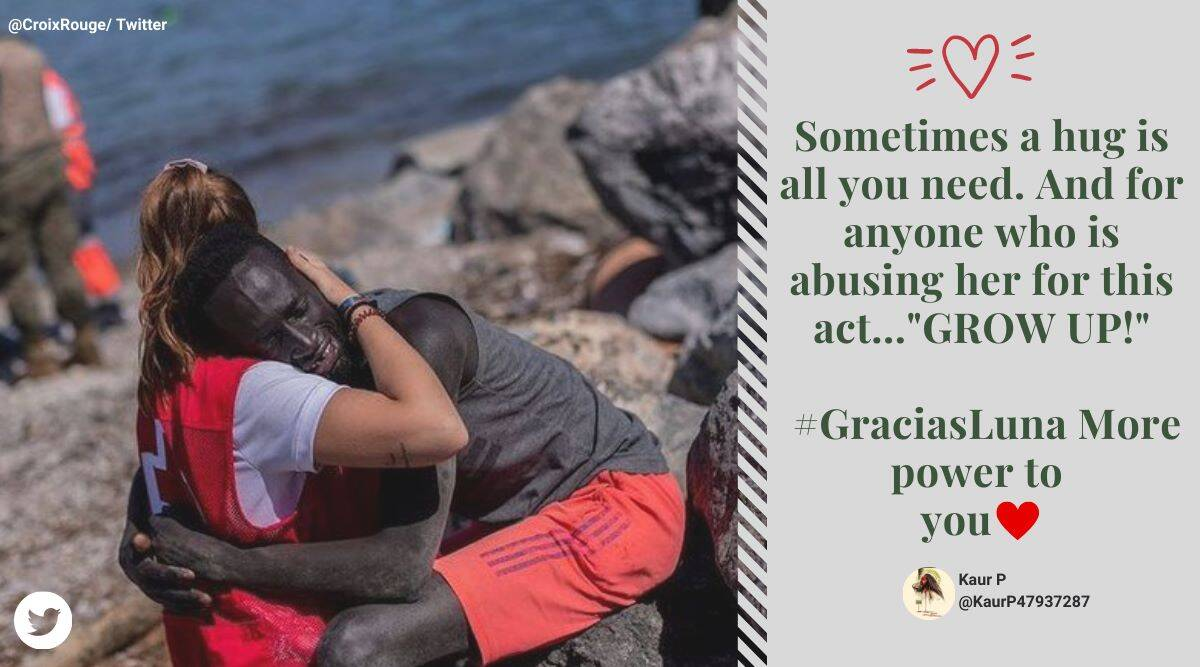 #GraciasLuna: Spanish aid volunteer abused online for hugging migrant, netizens fight back by thanking her