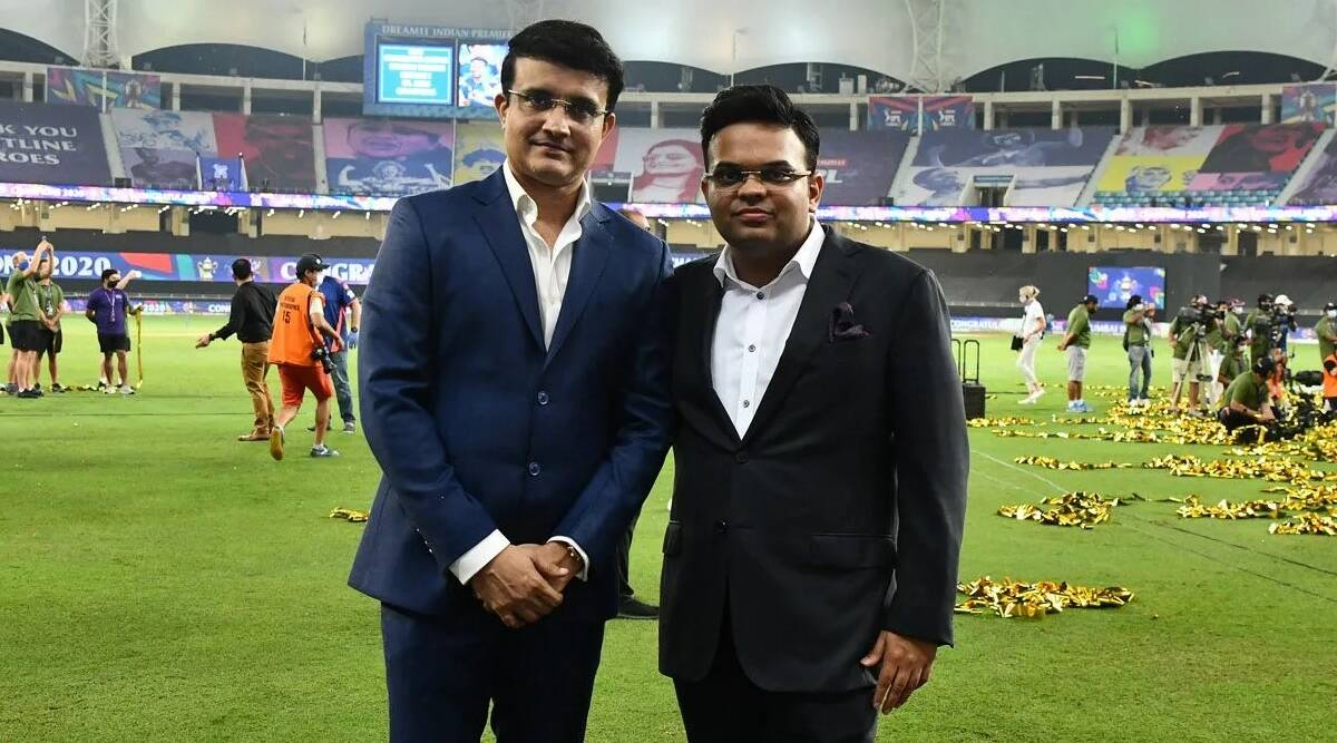 BCCI president Sourav Ganguly with secretary Jay Shah before the start of IPL 2020 final. (File)