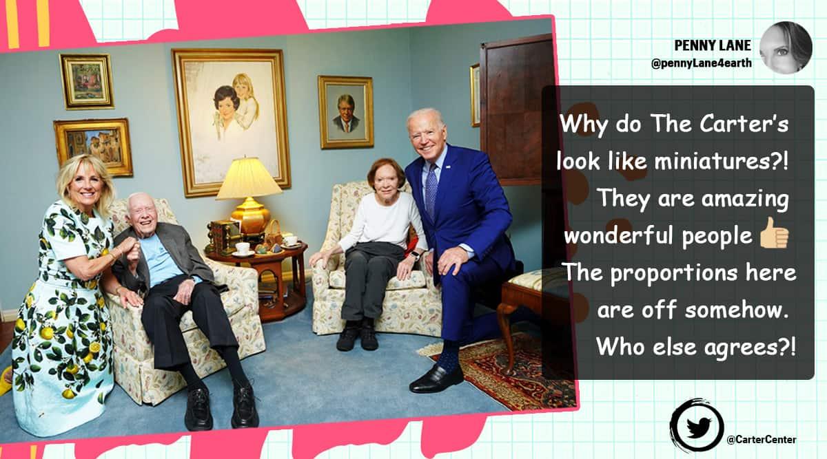 US president Joe Biden meeting Carters viral picture, Jimmy Carter lady Rosalynn Carter Jode biden picture, twitter reactions, indian express, indian express news.