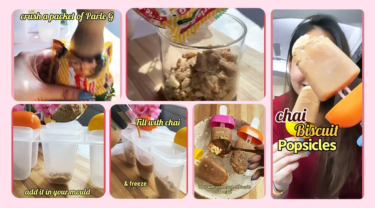chai, chai recipe, chai-biscuit' popsicle recipe, mumbai food blogger chai popsicle recipe viral video, instagarm, reactions. indian express, indian express news