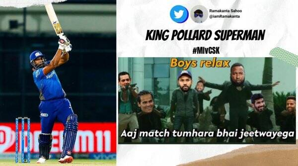 ipl 2021, csk vs mi, mi v csk, mumbai indians, chennai super kings, Kieron Pollard, Ambati Rayudu, cricket news, sports news, indian express news