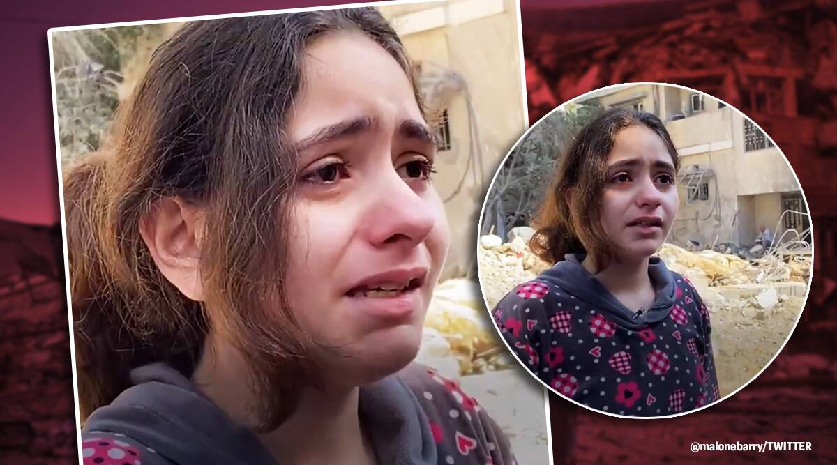 10 year old gaza girl, 10-year-old Palestinian girl, Israel Gaza conflict, Israel conflict, israel air strike, israel missiles, gaza missiles, hamas air strike, israel iron dome, twirrer reactions, indian express, indian express news