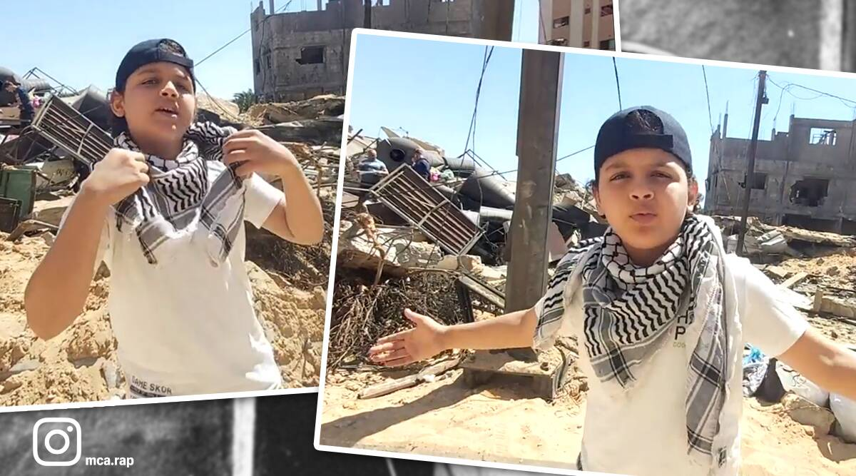 Gaza, Gaza strip, Gaza Palestine, Israel-Palestine conflict, Israel Palestine news, AlAqsa mosque attack, 12 year old raps, gaza rapper, boy raps Palestine, indian express news